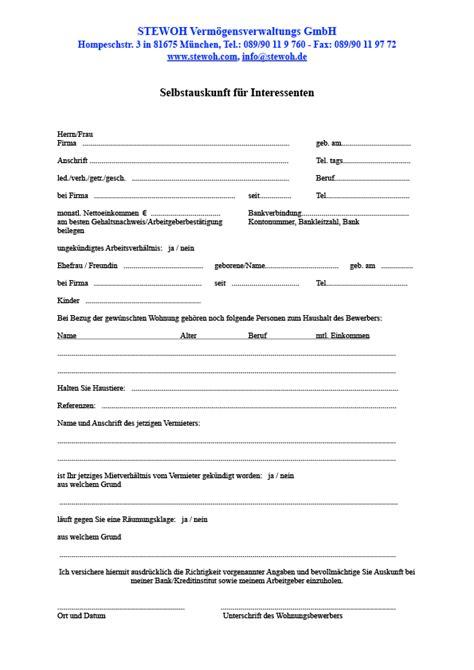 selbstauskunft wohnung stewoh vermgensverwaltungs gmbh formulare