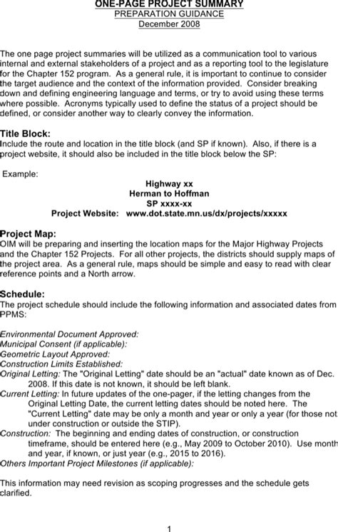 Download One Page Project Summary Template For Free Page 3 Formtemplate One Page Project Overview Template