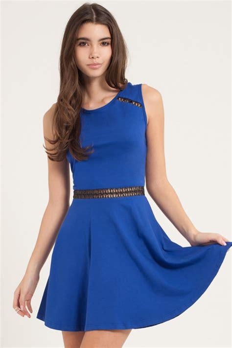 film blue open outlet girls on film blue open back skater dress
