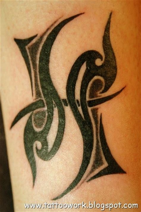 tattoo work of art tribal pisces sign