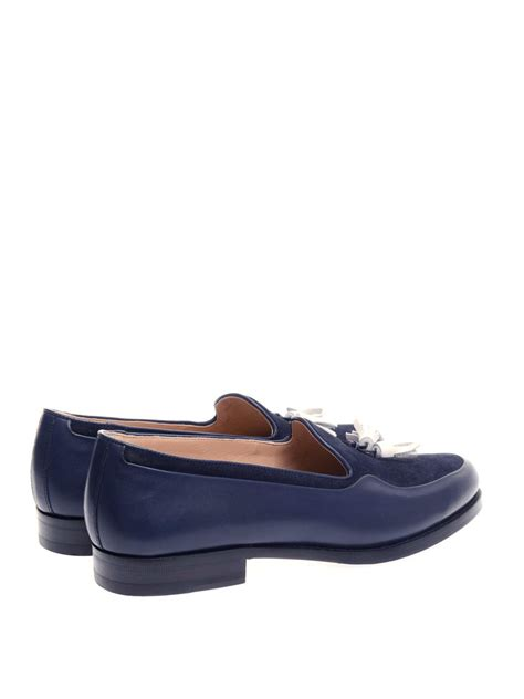 mr hare loafers mr hare wilde suede and leather tassel loafers in blue lyst