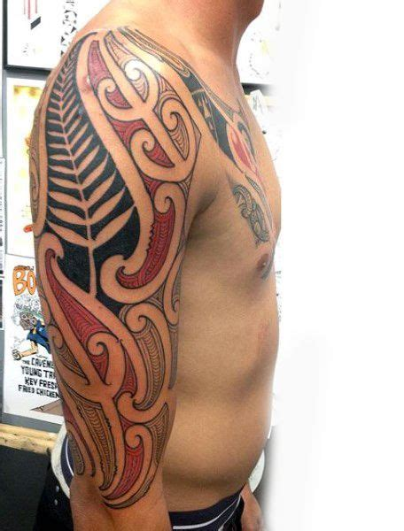 cool tattoo ideas red ink cool maori design ideas for half sleeve with