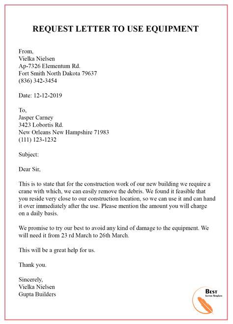 request letter permission equipment