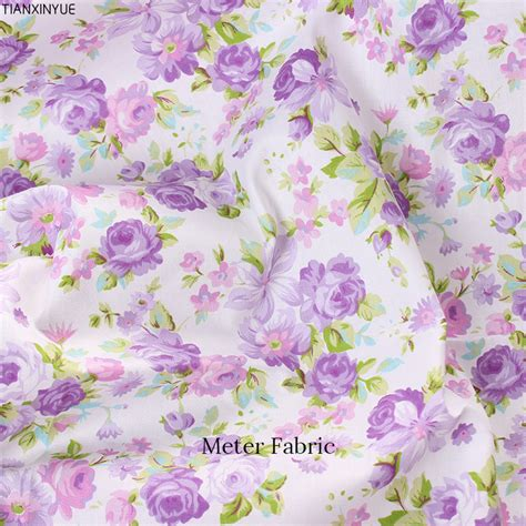 Purple Patchwork Fabric - purple flower cotton fabric meter fabric diy handmade