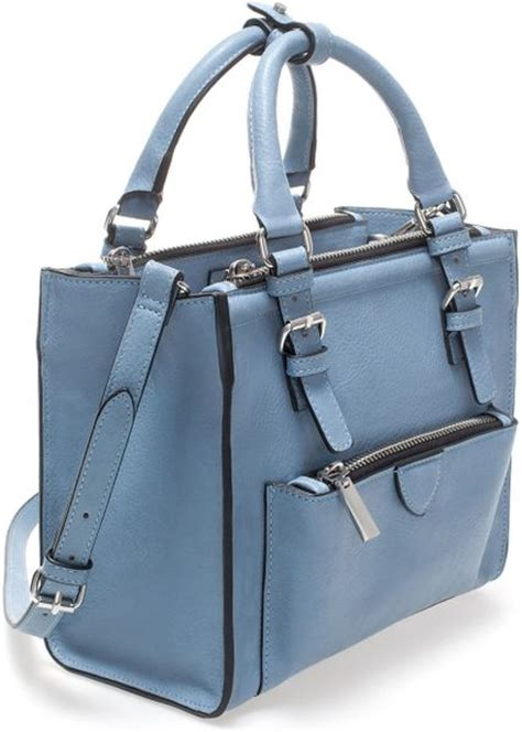 Zara Mini With Zips zara mini city bag with zip details in blue lyst