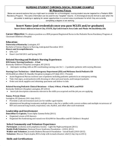 Student Nurses Resumes by Nursing Student Resume Exle 10 Free Word Pdf