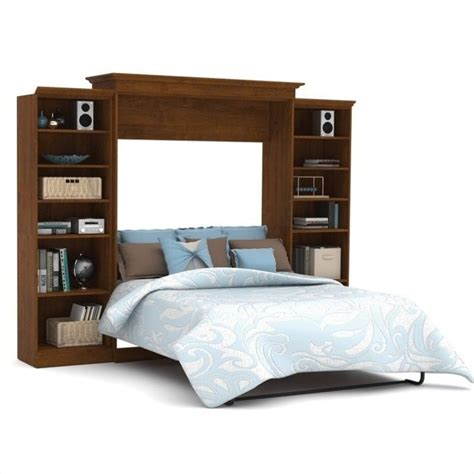 bestar wall bed bestar versatile 115 queen wall bed in tuscany brown