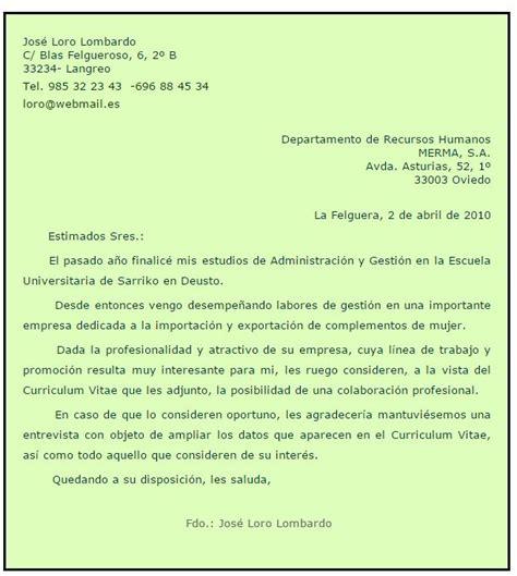 Modelo Carta De Presentacion Curriculum Administrativo Carta De Presentaci 211 N Autocandidatura Administrativo
