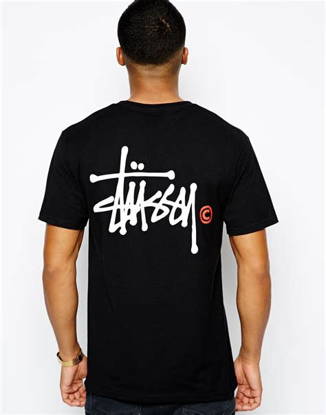 T Shirt Stussy 7 lyst stussy tshirt with basic logo back print in black for