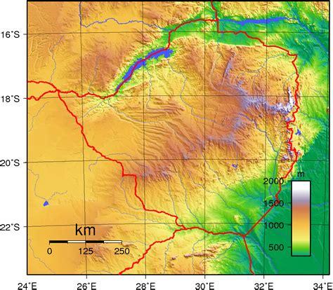 detailed topographical map  zimbabwe zimbabwe detailed
