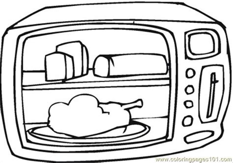 Coloring Pages Kitchen Appliances | cooking chicken in microwave printable coloring page for