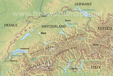 physical map of switzerland switzerland physical map
