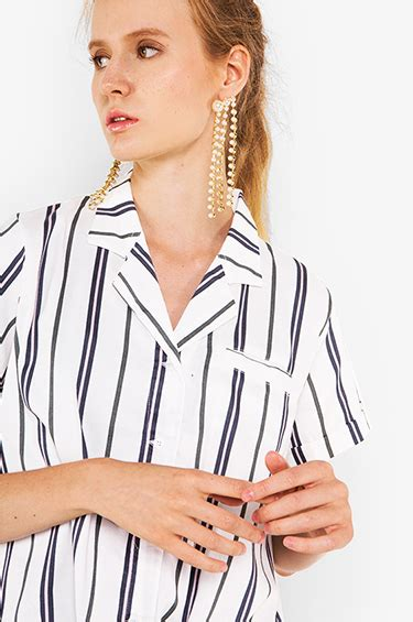 woven shirt navy brown striped arsy cottonink