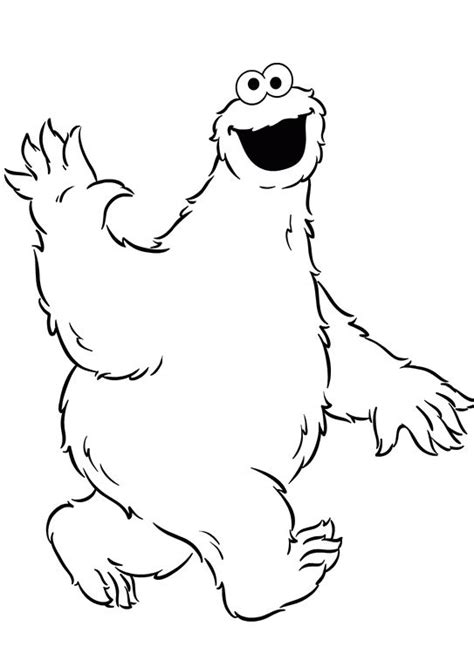 cookie monster waving coloring pages outlines pinterest