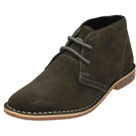 mens real suede leather lace up desert ankle