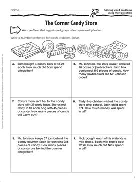 Corner Candy Store Multiplication Word Problems