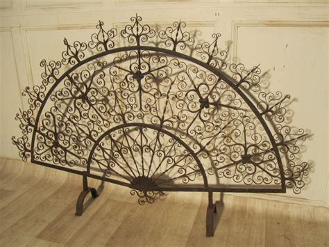 fan shaped fireplace screen victorian wrought iron fan shaped fire screen 244916