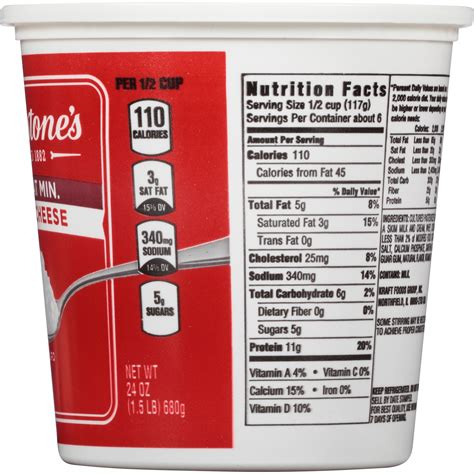 Nutritional Information For Cottage Cheese by Breakstone Cottage Cheese Nutrition Information