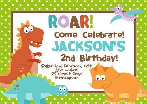 cretaceous dinosaur birthday party invitations bagvania