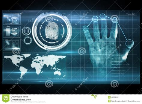 digital security digital security print scan stock illustration