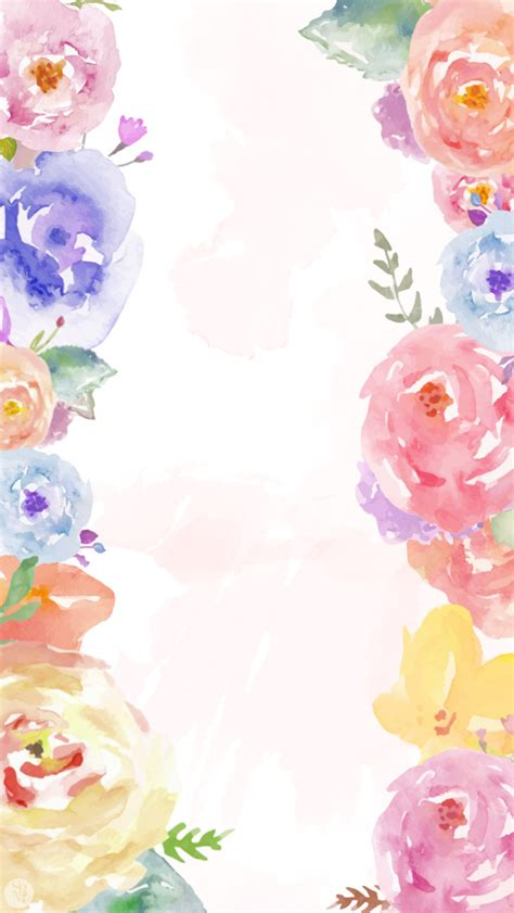 wallpaper pinterest flowers white pink lavender blue watercolour floral flowers frame
