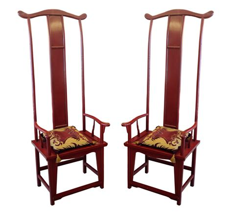 pair  chinese throne tall  chairs modernism