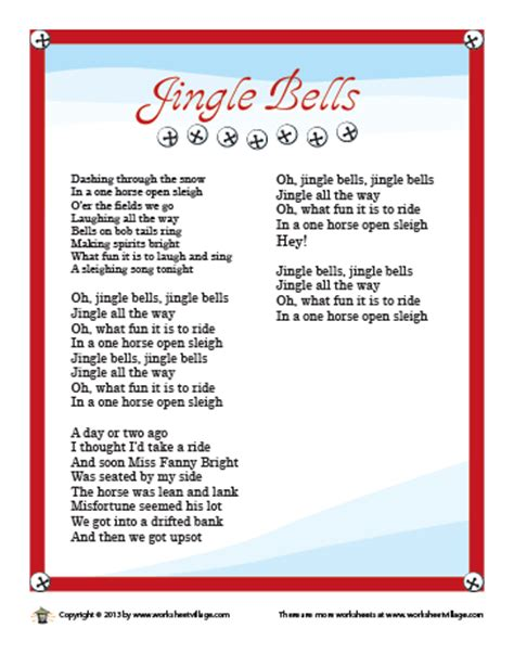 printable lyrics for jingle bells image gallery jingle bells azlyrics