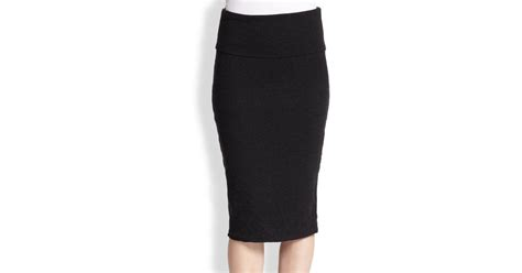 stretch cotton jersey pencil skirt in black lyst