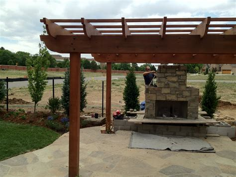 in progress fireplace pergola and flagstone patio yelp
