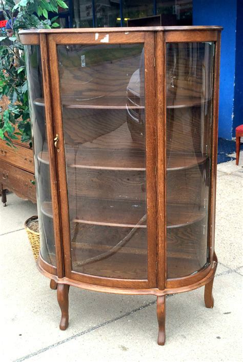 antique curio cabinet with curved glass rare vintage tiger oak curved glass display cabinet in