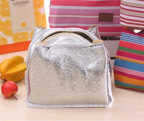 Tas Bekal Aluminium Foil Tsumtsum Lunch Bag jual stripe lunch bag thermal insulated bag cooler