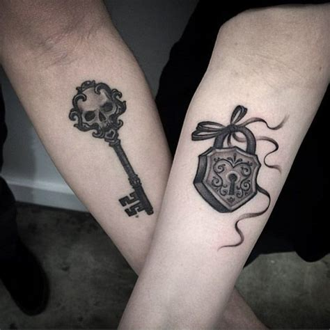 images of tattoos for couples key and lock couples key