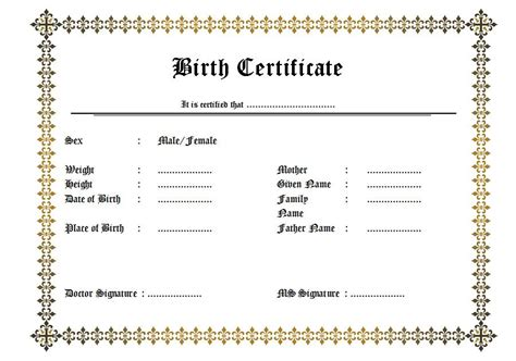 uk birth certificate template birth certificate template uk gallery certificate design