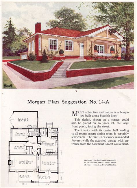 Spanish Revival Style Bungalow 1923 Morgan Sash Window Small Revival House Plans