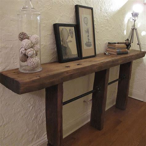 industrial pipe sofa table rustic industrial reclaimed wood pipe console table