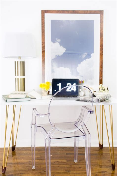 white desk with gold legs fancy ways to refresh your furniture with hairpin legs