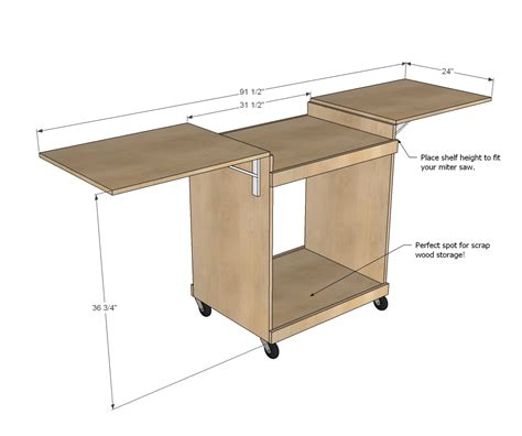 chop saw bench plans ana white miter saw cart diy projects