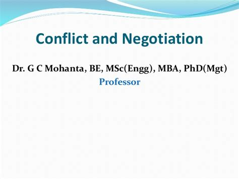 Negotiation Notes Mba by Conflict Negotiation