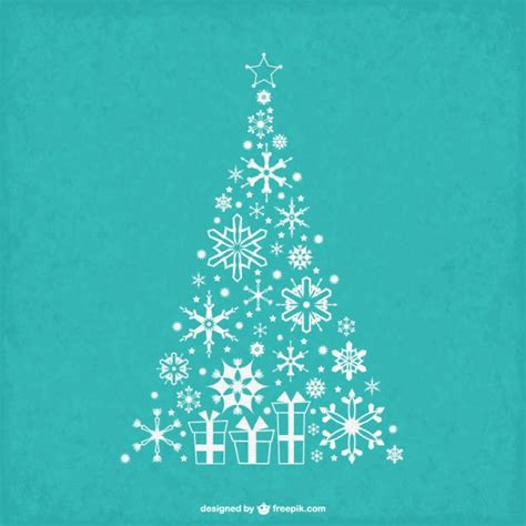 vintage christmas tree with snowflakes vector free download