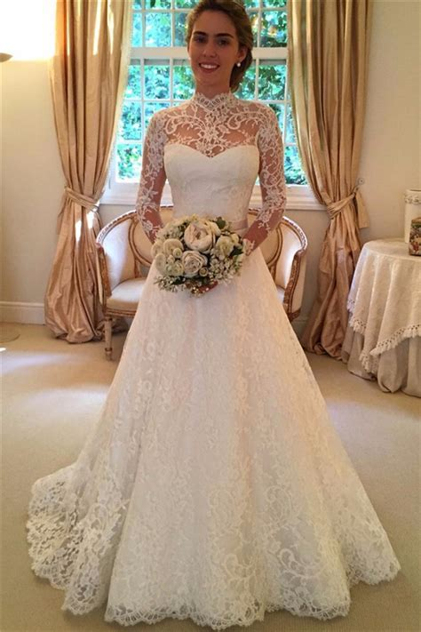 Elegant Lace A line 2019 Wedding Dress Long Sleeve High