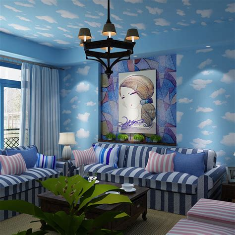 cartoon bedroom wallpaper kid cartoon room wallpaper blue sky white clouds children