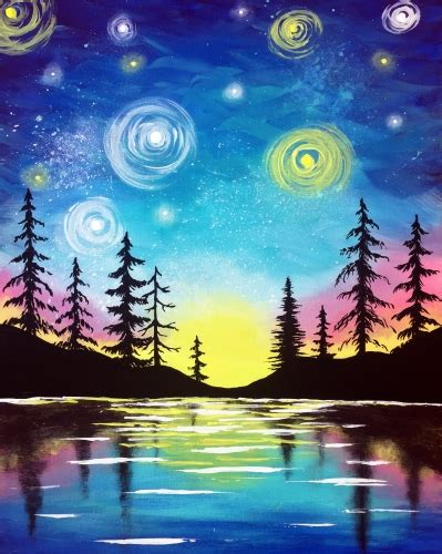 paint nite zukey lake paint nite starry lake sunset saultonline