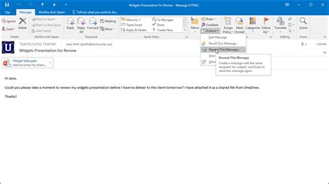 Office 365 Mail Login History Resend A Message In Outlook Tutorial And