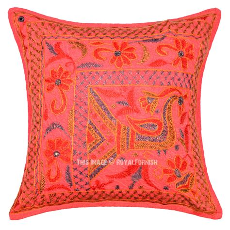 orange peacock theme needlepoint unique pillow cover