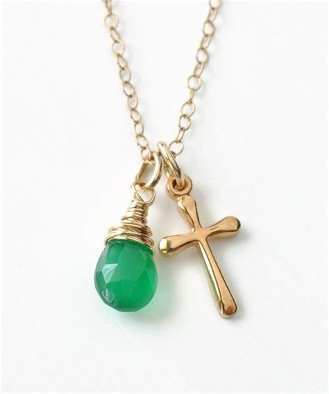 Kalung Birthstone 12 Bulan Birthstone Charm Pendant July Nec T2909 small gold filled cross necklace with birthstone for may