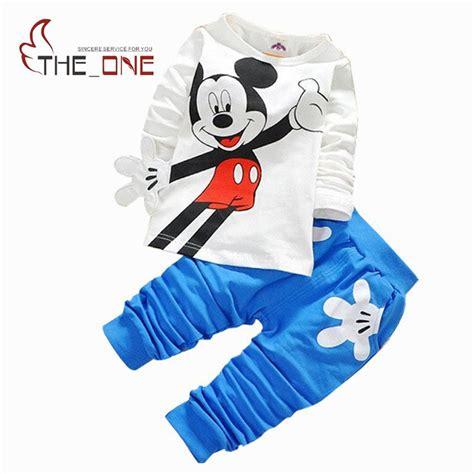 Mickey Casual Dress 1 2016 1 4t baby boys mickey print casual clothing sets boy sleeve cotton t shirt