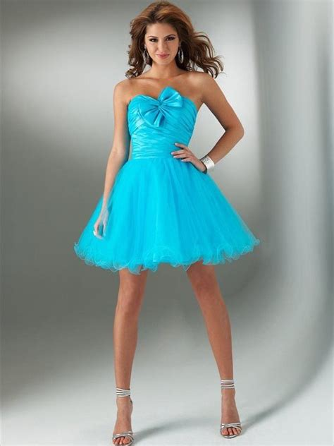 strapless short turquoise dress  bownot pictures