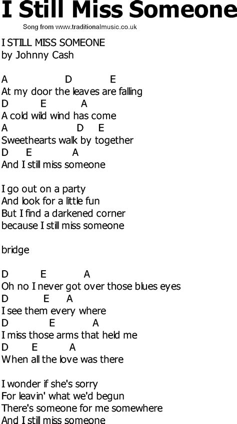 song lyrics and chords country song lyrics with chords i still miss someone