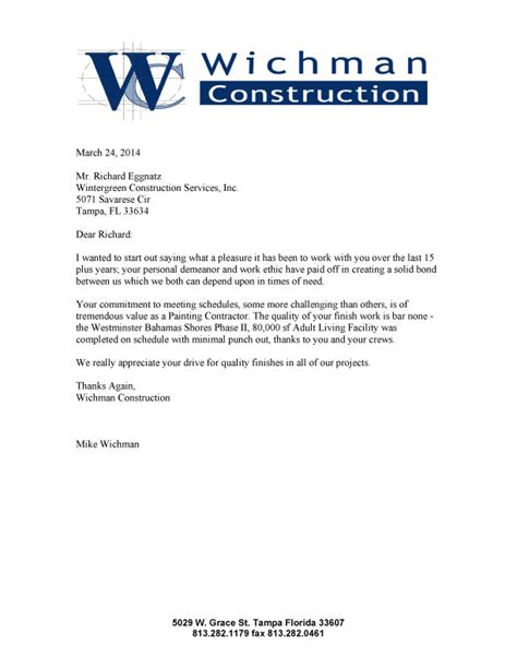 construction work sle letter of intent for