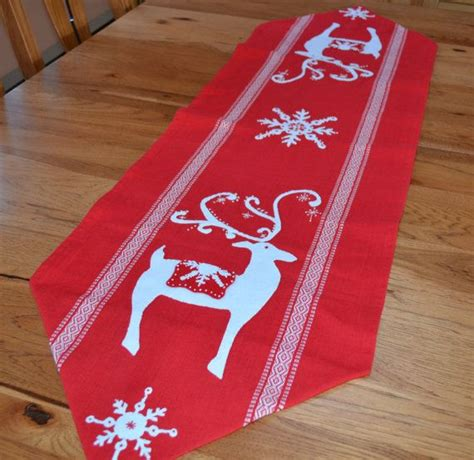 scandinavian christmas table runner red background